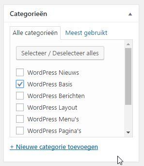 WordPress Categorie kiezen voor je Bericht