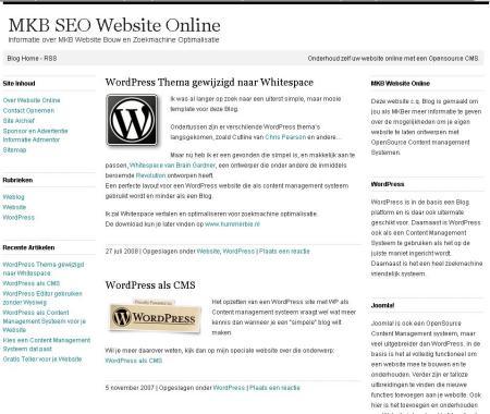 Whitespace WordPress Theme Nederlands