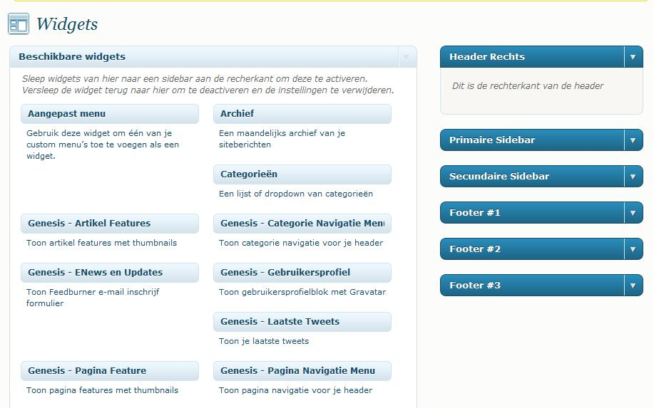 wordpress widgets en layout